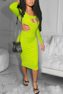 Fluorescent Green Sexy Solid Hollowed Out O Neck Pencil Skirt Dresses