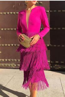 Rose Red Sexy Elegant Solid Tassel Split Joint V Neck Pencil Skirt Dresses