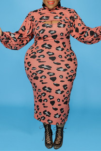 Pink Fashion Sexy Print Hollowed Out Turtleneck Plus Size Two Pieces