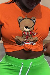 Orange Street Cute Character Split Joint O Neck T-Shirts