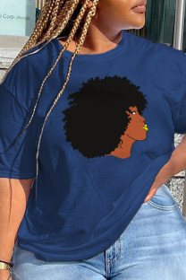 Navy Blue Daily Cute Print Split Joint O Neck T-Shirts