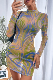 Multicolor Fashion Sexy Print See-through Half A Turtleneck Long Sleeve Dresses