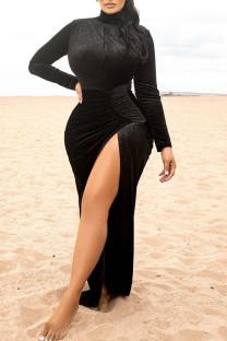 Black Elegant Solid Split Joint High Opening Turtleneck Straight Dresses