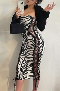 Zebra Sexy Print Bandage Backless Strapless Sleeveless Dress