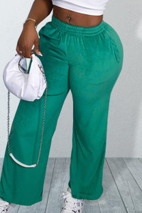 Green Casual Solid Split Joint Straight Straight Solid Color Bottoms