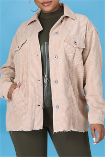 Apricot Fashion Casual Solid Split Joint Turndown Collar Outerwear