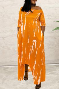 Orange Fashion Casual Print Asymmetrical O Neck Long Sleeve Dresses