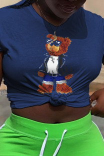 Navy Blue Casual Cute Character Split Joint O Neck T-Shirts