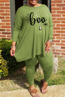 Green Casual Print Split Joint O Neck Plus Size Two Pieces