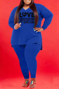 Blue Fashion Casual Print Split Joint V Neck Plus Size Two Pieces