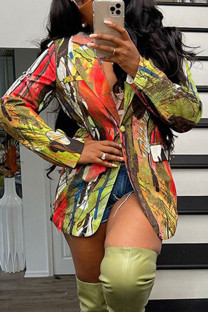 Colour Fashion Print Split Joint Buttons Turn-back Collar Outerwear