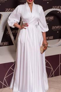 White Elegant Solid Split Joint V Neck Straight Dresses
