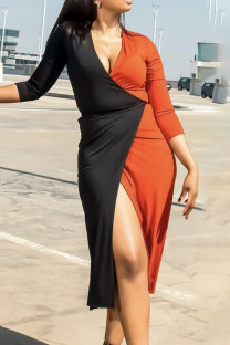 Tangerine Red Sexy Solid Split Joint V Neck Straight Dresses