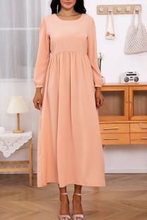 Orange Pink Casual Elegant Solid Split Joint O Neck A Line Dresses