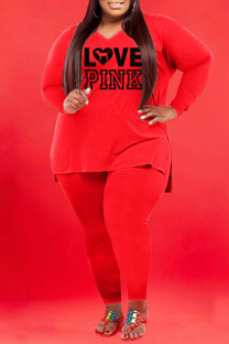 Red Fashion Casual Letter Print Slit V Neck Plus Size Two Pieces