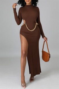 Brown Fashion Sexy Solid Hollowed Out Slit O Neck Long Sleeve Dresses (Without Waist Chain)
