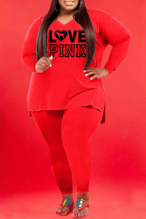 Red Fashion Casual Print Split Joint V Neck Plus Size Two Pieces