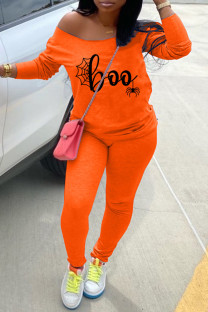 Orange Fashion Casual Print Basic Oblique Collar Long Sleeve Two Pieces