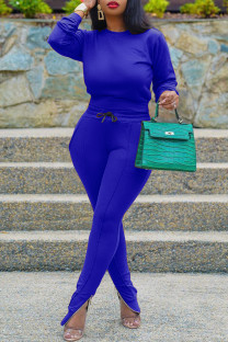 Peacock Blue Fashion Casual Solid Basic O Neck Long Sleeve Two Pieces