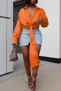 Orange Fashion Casual Solid Bandage Turndown Collar Tops