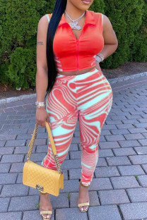 Red Fashion Casual Striped Vests Pants Zipper Collar Sleeveless Two Pieces