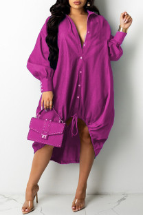 Rose Red Fashion Casual Patchwork Basic Turndown Collar Long Sleeve Dresses
