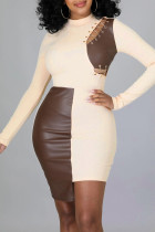 Apricot Sexy Solid Hollowed Out Split Joint Frenulum Asymmetrical O Neck One Step Skirt Dresses