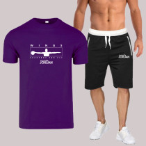 Purple Fashion Sportswear Print Split Joint O Neck Short Sleeve Two Pieces