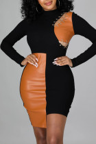 Black Sexy Solid Hollowed Out Split Joint Frenulum Asymmetrical O Neck One Step Skirt Dresses