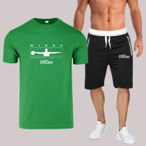 Green Fashion Sportswear Print Split Joint O Neck Short Sleeve Two Pieces