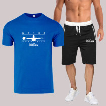 Blue Fashion Sportswear Print Split Joint O Neck Short Sleeve Two Pieces