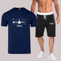 Navy Blue Fashion Sportswear Print Split Joint O Neck Short Sleeve Two Pieces