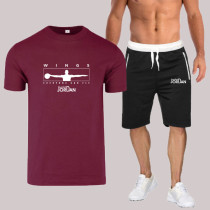 Deep Red Fashion Sportswear Print Split Joint O Neck Short Sleeve Two Pieces