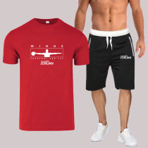 Red Fashion Sportswear Print Split Joint O Neck Short Sleeve Two Pieces