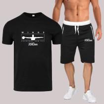 Black Fashion Sportswear Print Split Joint O Neck Short Sleeve Two Pieces