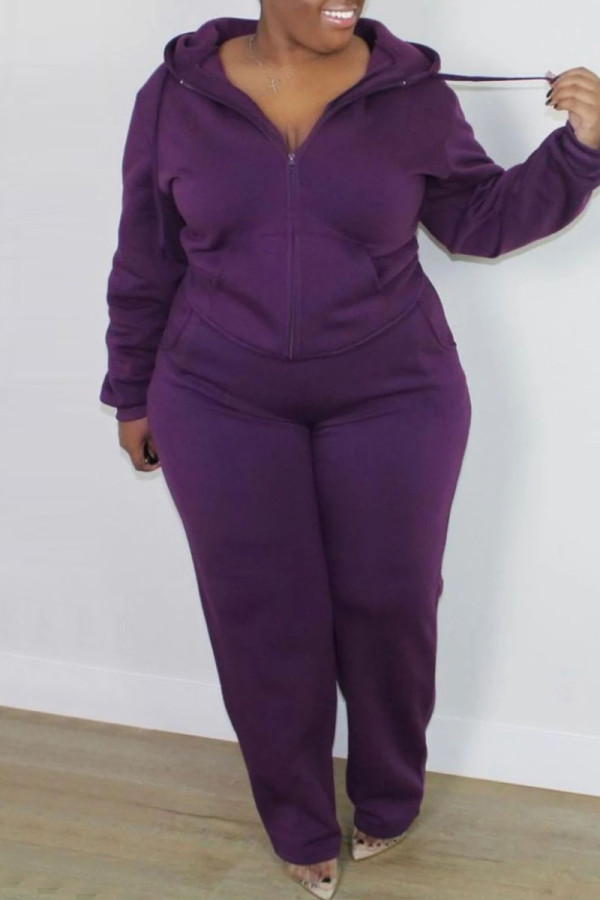 Purple Fashion Casual Solid Cardigan Pants Hooded Collar Plus Size Two Pieces