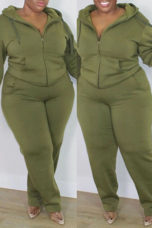 Army Green Fashion Casual Solid Cardigan Pants Hooded Collar Plus Size Two Pieces