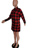 Red Casual Plaid Print Split Joint Buckle Turndown Collar Shirt Dress Dresses(Without Belt)
