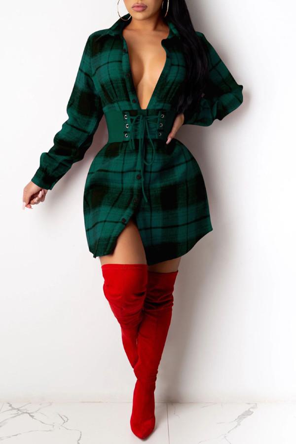 Green Casual Plaid Print Split Joint Buckle Turndown Collar Shirt Dress Dresses(Without Belt)