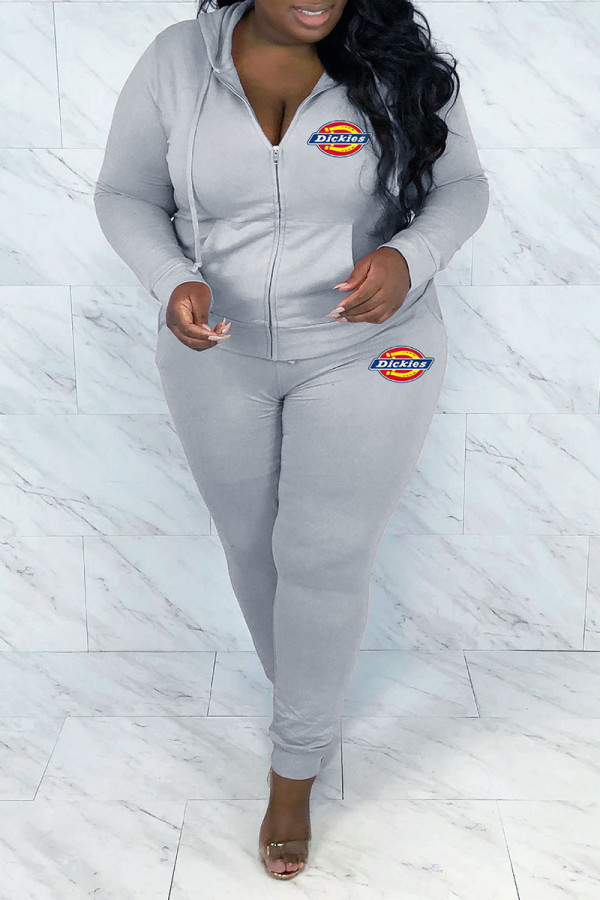 Grey Fashion Casual Print Split Joint Hooded Collar Plus Size Two Pieces