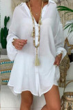 White Casual Solid Split Joint Buckle Asymmetrical Turndown Collar Tops