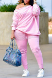 Pink Casual Solid Split Joint Buttons Fold Off the Shoulder Long Sleeve Two Pieces