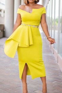 Yellow Party Solid Split Joint Off the Shoulder Irregular Dress Dresses (without Belt)
