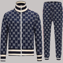 Navy Blue Fashion Casual Print Split Joint Zipper Collar Long Sleeve Two Pieces