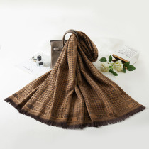 Brown Fashion Casual Print Split Joint Letter Scarf
