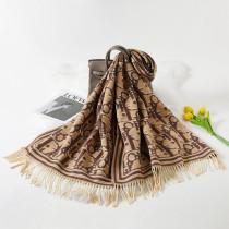 Khaki Fashion Casual Letter Tassel Split Joint Scarf