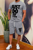 Grey Fashion Casual Print Split Joint O Neck Short Sleeve Two Pieces