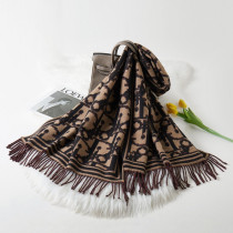 Black Fashion Casual Letter Tassel Split Joint Scarf