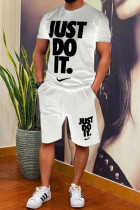 White Fashion Casual Print Split Joint O Neck Short Sleeve Two Pieces