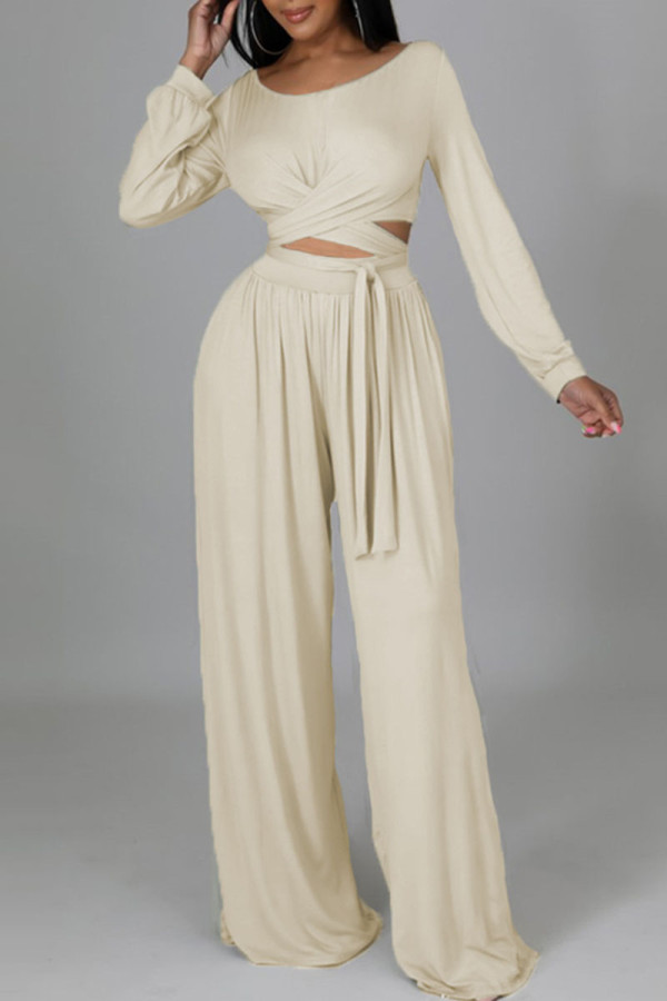 Cream White Casual Solid Bandage Split Joint O Neck Long Sleeve Two Pieces